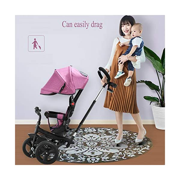 GSDZSY - 4 In 1 Kids Tricycle 3 Wheel Bike Baby Stroller, Foldable With Removable Push Handle Bar, Non-inflatable Rubber Wheel,Adjustable Awning, 1-5 Years,A GSDZSY ❀ Material: high carbon steel + ABS + rubber wheel (non-inflated) ❀ Features: Tricycle can be folded, push rod can be adjusted height, suitable for people of different heights; seat can be adjusted, parasol can be adjusted, suitable for different weather, rear wheel with brake ❀ Performance: high carbon steel frame, strong and strong bearing capacity; rubber wheel anti-skid and wear-resistant, suitable for all kinds of road conditions, good shock absorption, seat with breathable fabric, baby ride more comfortable 4