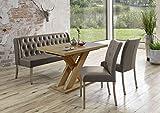 Dreams4Home Sitzbankgruppe 'Dios VIII' - Set, Essgruppe, Tischgruppe, 2 Stühle, Esstisch mit Einlegeplatte L/B/H:120(158,5)x80x75cm, 1 Bank L/B/H:158x66x89cm, modern, Esstisch mit Kreuzgestell, Honigeiche Dekor, Bezug cappuccino