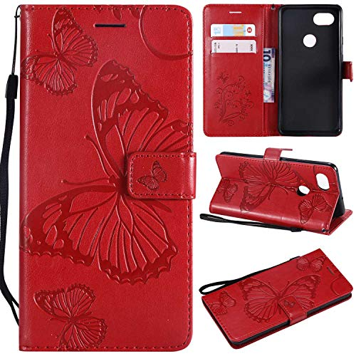 Bear Village Google Pixel 2XL Leather Case, Flip Wallet Case Slim Shockproof Cover with Credit Card Holder for Google Pixel 2XL (#6 Red)