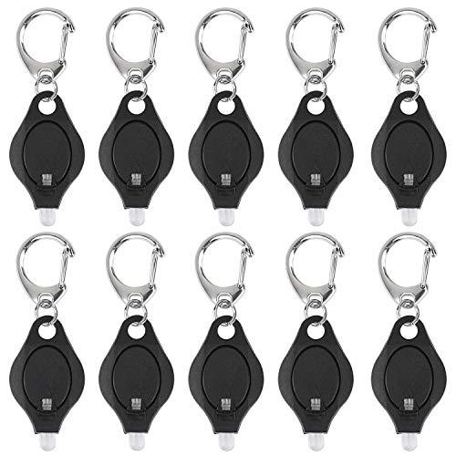 UnicLife 10 Stück Mini Schlüsselanhänger Taschenlampe Ultrahelle LED Schlüsselanhänger Licht Taschenlampe schwarz