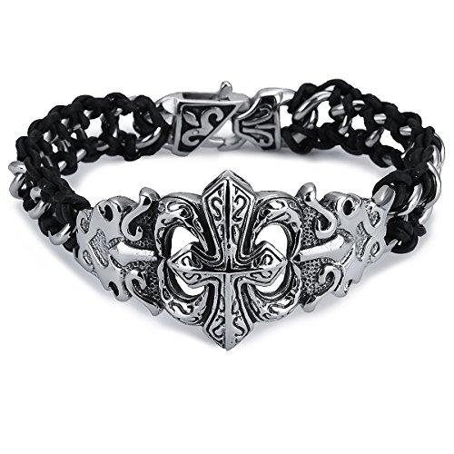 APE7® A284 Gothic Edelstahl-Armband mit fettem Lilien-Kreuz Fleur-De-Lis Leder-Umflochten Farbe Silber Poliert Biker Kette