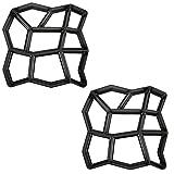 MCTECH® D.I.Y. Betonform Schalungsform BetonPflasterform Pflastermacher Zufällige/ Rechteck Muster von , Gehwegen, Trittsteinen, Garten (Zufällige Muster, 2 Stücke)