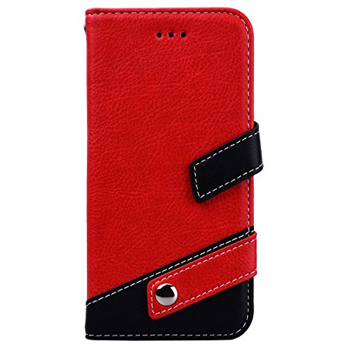 WE LOVE CASE iPhone X / 10 Cover Modello Litchi Splicing Colore Retro Style iPhone X / 10 Custodia Marrone Copertura Pelle Flip PU Leather Design Internamente Silicone TPU Cassa Caso Bumper Protettiva red