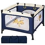 TecTake Box per gioco e nanna lettino da viaggio reticolato campeggio bambini bebé blu