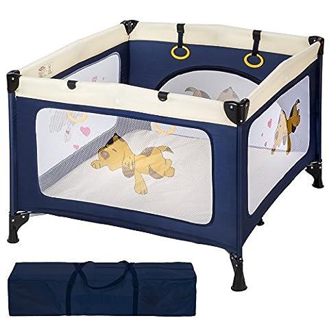 TecTake Parc pour Bébé Lit de Bébé Parapluie Pliant avec Sac de Transport bleu