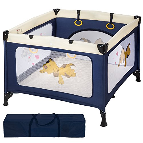 TecTake Baby Laufstall Babybett Kinder Reisebett | inkl. Schlafunterlage + Transporttasche | navy blau