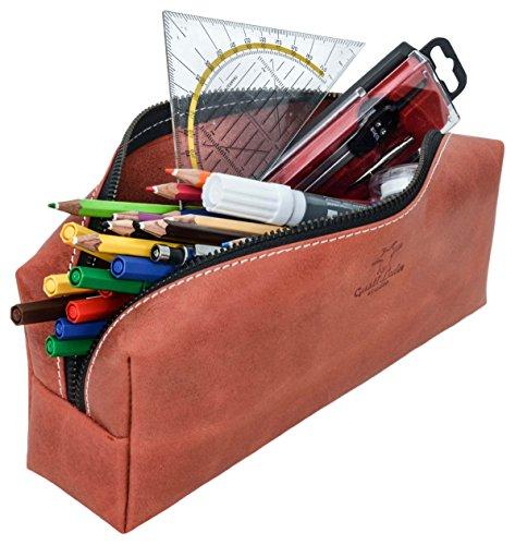 Gusti Leder studio porta penne portacolori astuccio beauty case università ufficio vintage vera pelle di bufalo unisex rosso 2S9-22-10