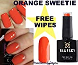 BLUESKY A12orange sweetie eine Orangey Rot Farbe Nagellack-Gel UV-LED-Soak Off 10ml plus 2homebeautyforyou Shine Tücher