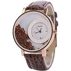 Tonsee Leger bunten Sand Damen Frauen Armbanduhren PU Leder Armband Studentinnen Uhren,Braun