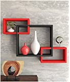 Furniture Cafe Wooden Intersecting Wall Shelves/Shelf for Living Room | Set of 3 | Red & Black