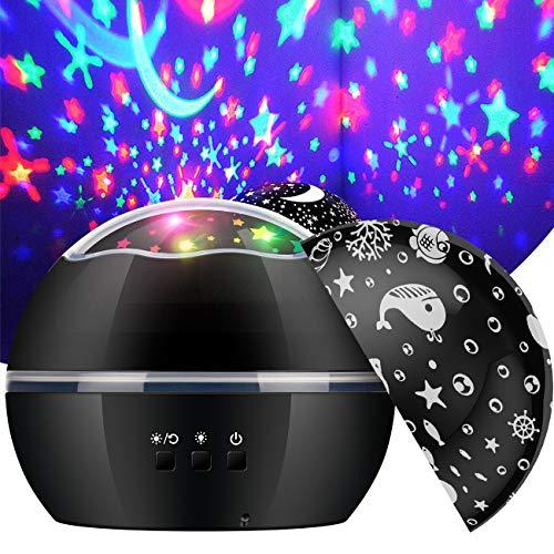 EXTSUD Sternenhimmel Projektor Lampe Baby Nachtlicht 360° Rotierend Sternenprojektor mit 2 Projektionslampe Kappen und 8 Modi Licht, USB/Batterie Betrieben, Perfekt für Kinderzimmer Geschenk MEHRWEG