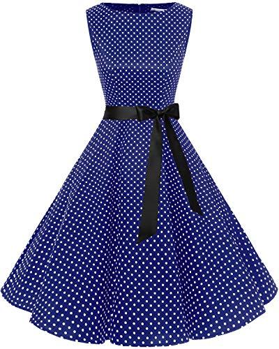 bbonlinedress 50s Retro Schwingen Vintage Rockabilly Kleid Cocktail Faltenrock Navy Small White Dot M - Retro-kleid-schuhe