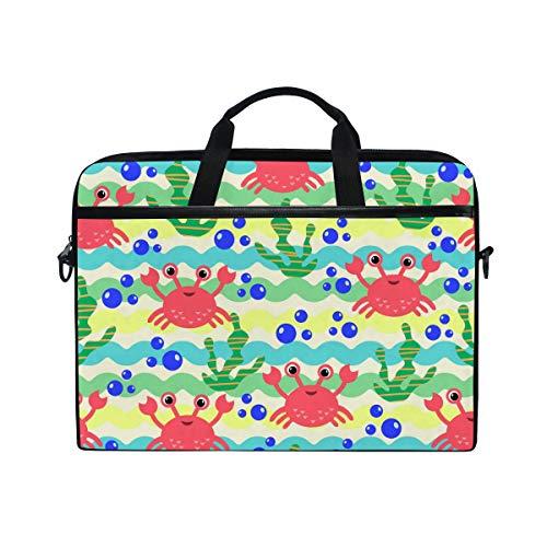 Ahomy 14 Zoll Laptoptasche, Cartoon, nautisches Carb und Algen Seewave, Segeltuch, Laptoptasche, Bussiness Handtasche mit Schultergurt für Damen und Herren