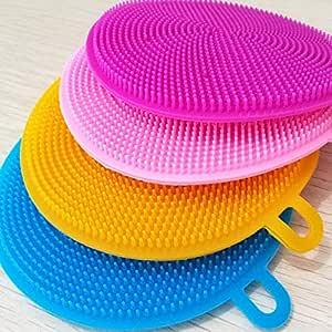 Maharsh Silicone Washing Sponge Antibacterial Silicone Dish Scrubber Fruit and Vegetable Washing Brush Round Scrubber Pad Multipurpose Silicone Dishwashing Tools for Kitchen(2 psc)