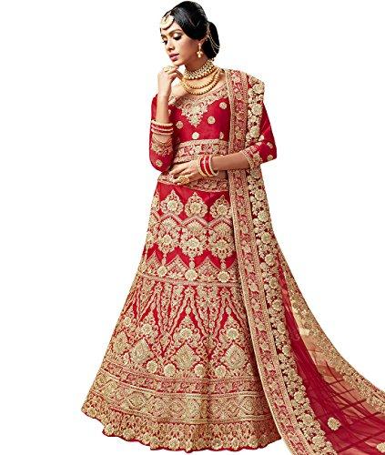 Indian Ethnicwear Bollywood Pakistani Wedding Red A-Line Coloured Lehenga Semi-stitched-PRF5430
