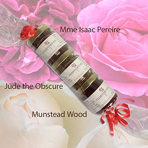 3 Verschiedene Rosenblütenaufstriche in Geschenkverpackung 1. Mme Isaac Pereire & 2. Jude The Obscure & 3. Munstead Wood