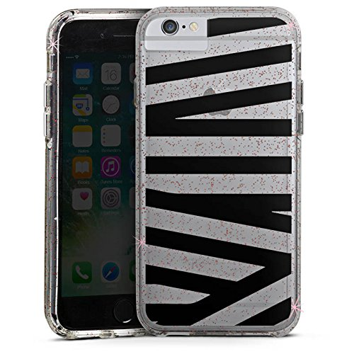 Apple iPhone 6 Bumper Hülle Bumper Case Glitzer Hülle Transparent mit Muster Streifen Pattern Bumper Case Glitzer rose gold