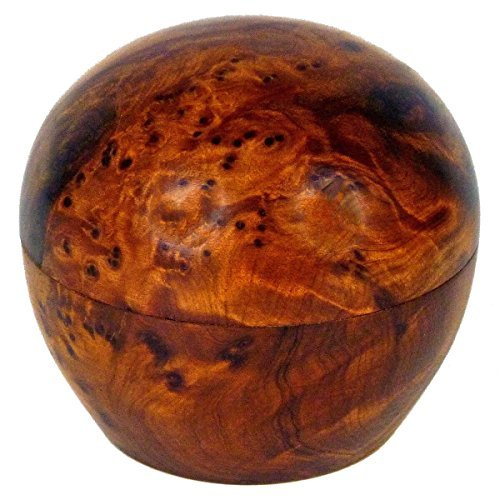 Geschnitzte Holz-akzente (Thuja Holz Schatulle Dose Schmuckdose Holzschachtel Holzdose Holzschatulle Wurzelholz Kiste rund Größe Klein)