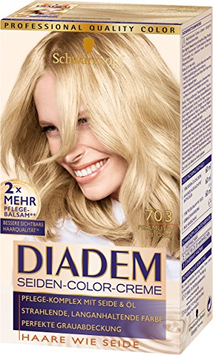 Schwarzkopf Diadem Seiden-Color-Creme, 703 Perlmuttblond Stufe 3, 3er Pack (3 x 180 ml)