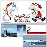 12er Set Weihnachtskarten KOLLEGEN mit Umschlägen - Fröhliche Weihnachten Karten mit lustiger Karikatur für Privat und Geschäft von BREITENWERK