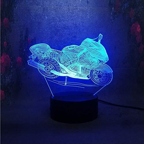 orangeww 3D Motorrad LED Nachtlicht Art Home Deco Nachtlicht Touch Schlafzimmer Schlafen Kinder Kind Geschenk KreativeIllusion Lampe Licht/Lava Effekt Touch