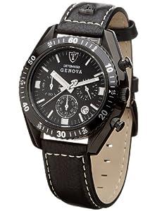 DeTomaso GENOVA SL1592C-BK-B - Reloj de caballero de cuarzo, correa de piel color negro (con cronómetro) de DeTomaso
