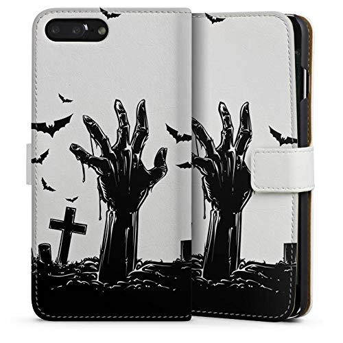 mpatibel mit Apple iPhone 8 Plus Leder Flip Case Ledertasche Zombie Halloween ohne Hintergrund ()