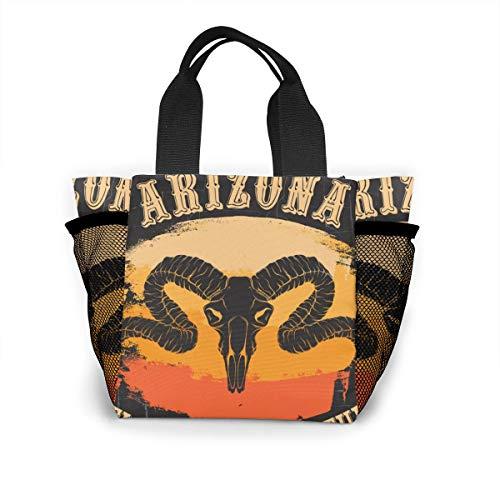Bolsa de Almuerzo Portátil Arizona Bienvenido a Adventure Quote Grunge Texture Sundries Bag Lunch Totes Shopping Bag