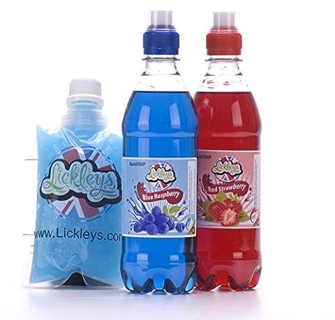 Bouteilles sirop Slush Puppy concentré framboise bleue & fraise 500ml X2 avec 5 poches Slush Maker