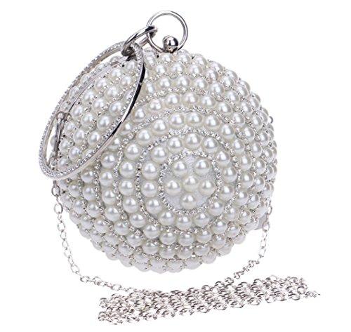 Frauen Clutch Bag Handtasche Abend Handtasche Glitter Diamante Perle Umhängetasche Sphärische Für Braut Hochzeit Prom Clubs Damen Geschenk,Silver-Diameter13CM -