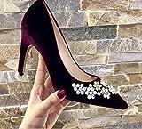 Gericht Schuhe Strass rote Brautschuhe Hochzeit Schuhe weibliche einzelne Schuhe weibliche Prinzessin zeigte High Heels weibliche Geldstrafe mit (Farbe : 35, Größe : Weiß)