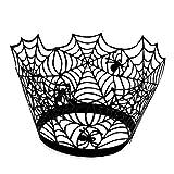 Leisial™ 50 Stücke Halloween Cupcake Wrappers Schwarz Papier Backförmchen Muffinförmchen aus Papier