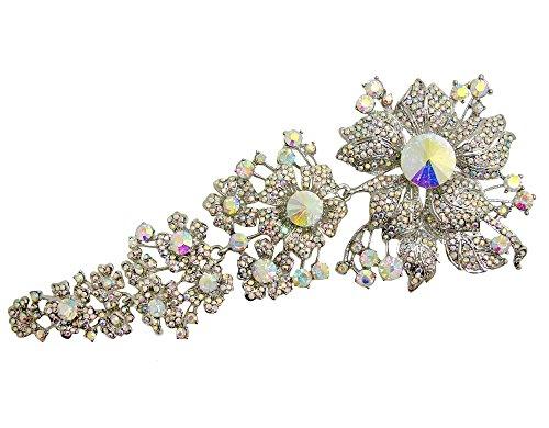 ttjewelry 20cm Luxus Romantik Lange Brosche Blume Braut Pin Klar Weiß AB Kristall Hochzeit...