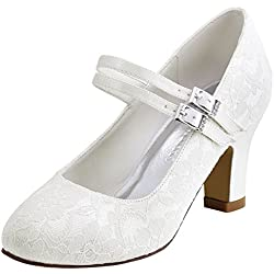 ElegantPark Mary Jane Hebilla Satén Cordones Zapatos de Boda