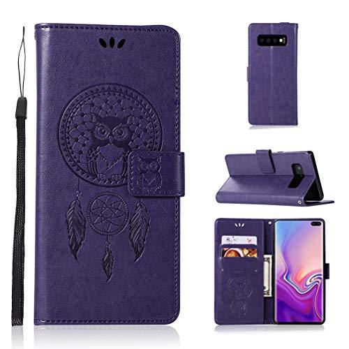 S10+ Flip Hülle Kompatibel mit Samsung Galaxy S10+ Handyhülle Schutzhülle Eule PU Leder Wallet Case Skin Ständer Kartenfächer Magnetisch Ledertasche Handyschale Tasche im Bookstyle Lila - Wallet Skin Case