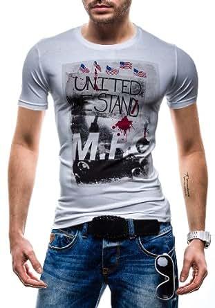 BOLF - T-shirt à manches courtes - GLO STORY 5383 - Homme - XXL Blanc [3C3]