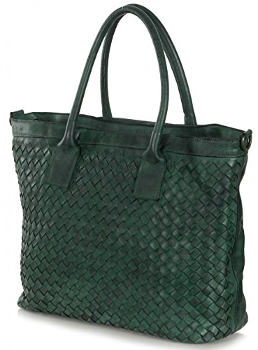 Femmes XL Shopper Sac vintage en cuir (46 x 32,5 x 15 cm) Vert