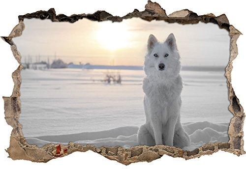 Loup blanc dans la neige B & W détailspercée murale en apparence 3D, la taille de la vignette mur ou de porte: 62x42cm, stickers muraux, sticker mural, décoration murale