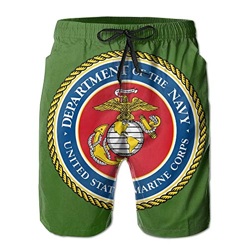Funny&shirt Semper Fi US Marine Corps Men Summer Swim Trunks Casual Swim Short X-Large