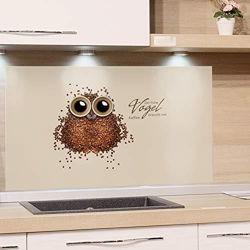 GRAZDesign Küchenrückwand Küche Glas-Bild Spritzschutz Herd braun Hellbraun Bildmotiv Der frühe Vogel braucht viel Kaffee / 60x40cm