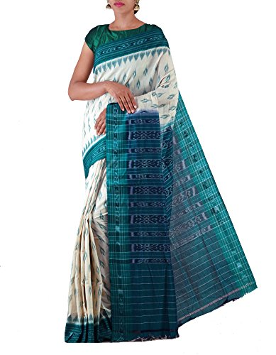 Unnati Silks Women Cream-Green Pure Handloom Sambalpuri Cotton Ikat Saree(UNM22069)