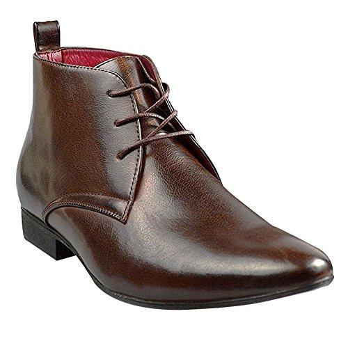 Sportliche Leder-heels (Xelay Herren Leder Gefüttert Chelsea Sportlich Schick Biker Spitz Zulaufend Stiefeletten Schuhe Größe EU, Braun, Schnürverschluss, 45 EU)
