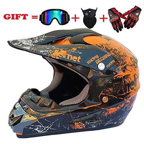 SK-LBB, Casco da motociclista per adulti, per bambini, per fuoristrada, MX Moto DOT, certificato ATV, scooter, casco certificato, con occhiali sportivi/mascherina e guant