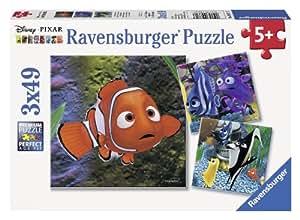 Ravensburger - 09371 - Puzzle - Le monde de Nemo Dans l'aquarium  - 3 x 49 Pièces