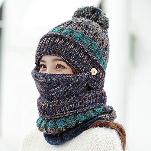 Agvbtqxzf berretto invernale da ciclismo per donna, caldo, antivento, cappello a maglia, berretto, cappello, blu marino