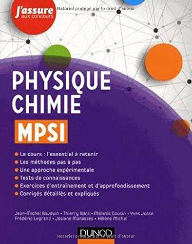 Physique-Chimie MPSI par Jean-Michel Bauduin, Thierry Bars, Mélanie Cousin, Yves Josse, Frédéric Legrand, Josiane Manasses, Hélène Michel