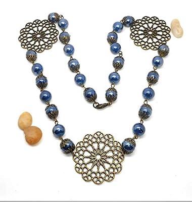 Collier bronze et perles bleues vintage