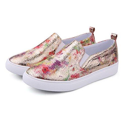 VogueZone009 Damen Niedriger Absatz Ziehen Auf Gemischte Farbe Pumps Schuhe Golden