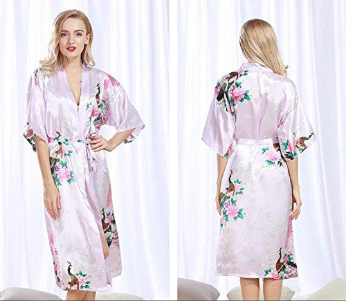 LJ&L Ms. modelli esplosione estate accappatoi dell'abito di seta della camicia da notte del cardigan sottili pigiama kimono aumento veste,light tan,XL Shallow purple