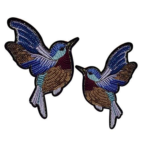 MoGist 1 Paio di Toppe semplici ed Eleganti a Forma di Uccello con Paillettes Ricamate Fai da Te Tessili Patch Applicazione da Stirare Vestiti Giacche T-Shirt Jeans